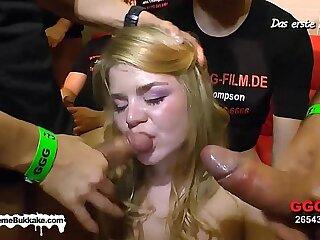 Cute bukkake call-girl takes a affectionate Jizz bath