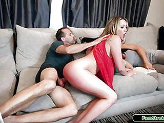 Blonde stepdaughter riding horsey on stepdads big hard dick