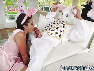 Teen fucked and spermed by costumed stepbro
