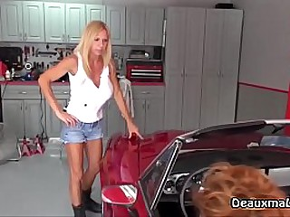 Mature Mechanic is ready to work on her clients car but she does not want cash. Her client is a hot milf and she wants her as payment! See the full video only at DeauxmaLive.com