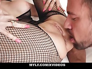 MYLF - Sexy Milf (Trinity St Clair) in Fishnets Gets Covered In Hot Cum