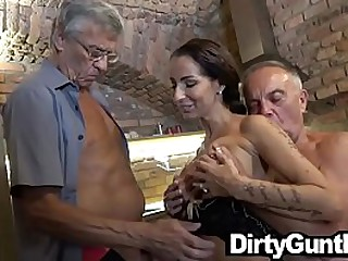 Hot Stripper payed to suck old cock