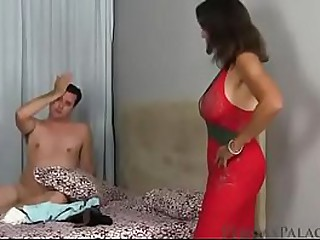 MILF catches a guy masturbating